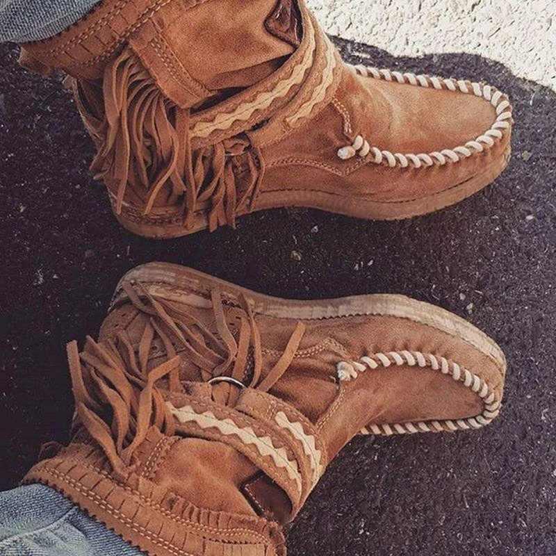 Kadın ayak bileği kısa çizmeler püsküller yuvarlak ayak toka kayış botları etnik tarzı sıcak olmayan-kayma çizmeler ayakkabı bayanlar için Botas mujer
