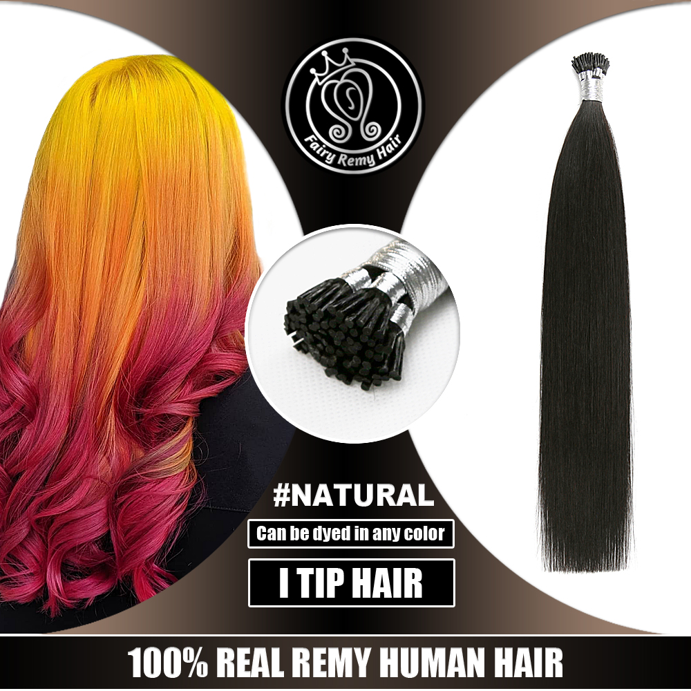 Real Virgin Natural Fusion I Tip Remy Hair Extenisons On Capsule Can Be Dyed All Color 0.8g/s 16