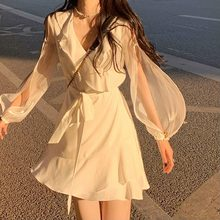 2021 Summer Elegant Mini Dress Woman One Piece Dress Korean Elegant Party Beach Dress Female Lantern Sieeve Office Lady V-Neck