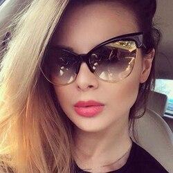 Half Frame Cat Eye Shades Sunglass Woman 2020 Vintage Fashion Luxury Designer Sun Glasses Unique Eyewear UV400