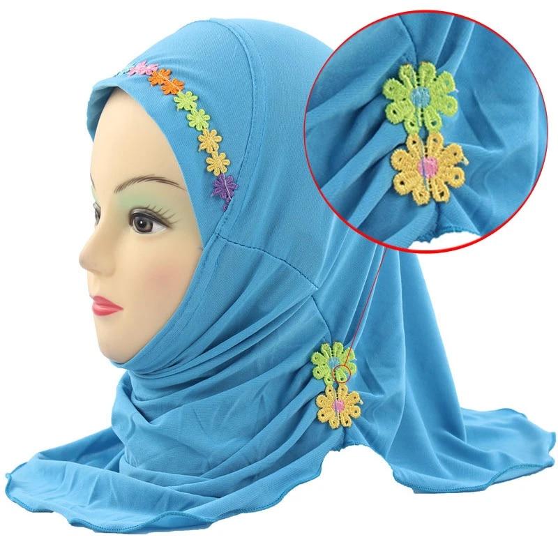 Girls Kids Muslim Hijab Islamic Arab Scarf Shawls Flower Pattern For 3-8 Years