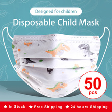 Dinosaur Child Kids Disposable Face Masks 3 Layer Anti-Dust Pollution Masks Fabric Meltblown Dustproof Cartoon Dog Cat Mask
