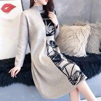 13072 (room 4, row 2, row 5) new medium long half high collar color matching knitted dress 60