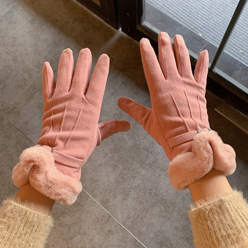Woman Winter Gloves Cycling Add Velvet Thicken Keep Warm Windbreak Coldproof Cute Students Winter Gloves C125