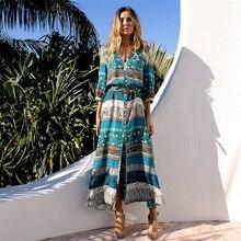 Women Long Maxi Dresses Bohemia V-Neck Three Quarter Sleeve Floral Print Ethnic