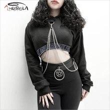 Imily Bela Gothic Casual Short Hoodies Women Empire Long Sleeve Print Hooded Sweatshirt Fashion Punk Chain Pullover Streetwear