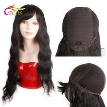 Длинные натуральные черные женские парики cpcos с челкой водные