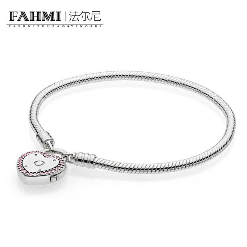 FAHMI Infinity authentique 100% 925 Bracelet en argent Sterling amour saint valentin Bracelet femmes cadeau romantique bijoux 596586FPC