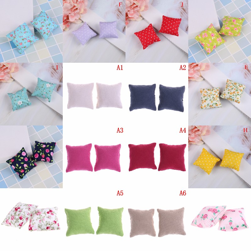1/2Pcs 1/12 Dollhouse Miniature Flower Pillow Cushions For Sofa Couch Bed Model Pretend Play House Toys For Kids Children