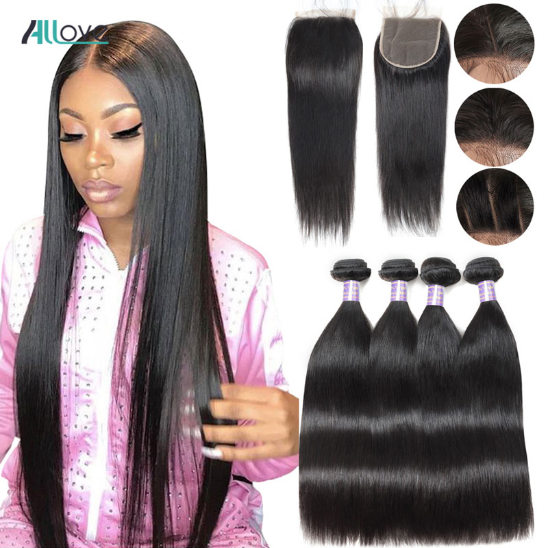 Brazilian Straight Hair Bundles With Closure Allove Human Hair Bundles With Closure Non-Remy Sew In Hair Weave With 4X4 Closure