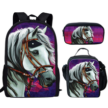 Школа сумки для девочек мальчиков 3шт% 2Fset лошадь рюкзак дети начальная книга сумка дети животное школьный портфель сумка ручка чехол