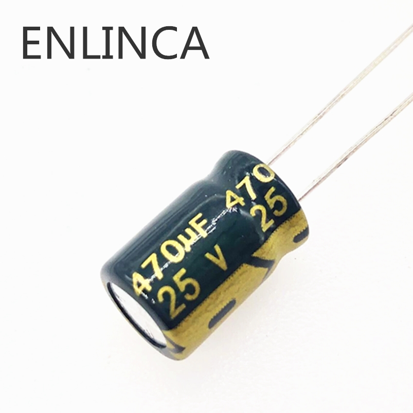 10pcs/lot T10 25V 470UF Low ESR/Impedance High Frequency Aluminum Electrolytic Capacitor Size 8*12 470UF25V 20%