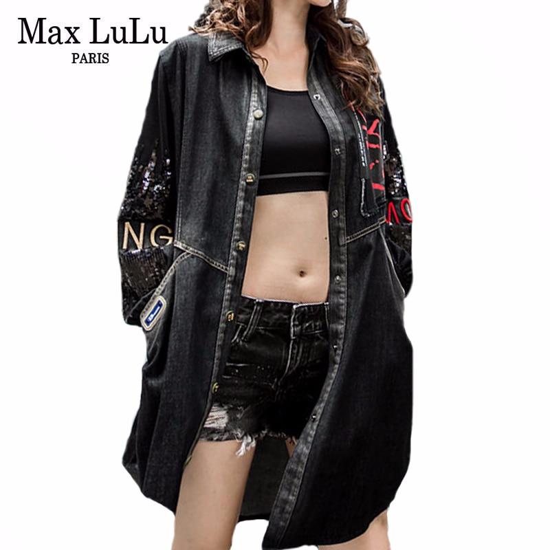 Max LuLu Vintage Korean Ladies Autumn Streeetwear Womens Hooded Denim Trench Coat Long Windbreaker Female Punk Clothes Plus Size
