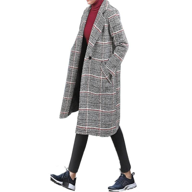 2019 Autumn And Winter Popular Plaid Woolen Coat Women's Plaids And Tweedst Mid-length Ozhouzhan European Goods Large Size Doubl