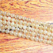 Blond Hair Natural Stone Bead Round Loose Spaced Beads 15 Inch Strand 4/6/8 / 10mm For Jewelry Making DIY Bracelet Necklace