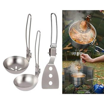 Camping Cooking Utensils Camp Utensils Folding Kitchen Cooking Utensils Stainless Steel Skimmer Slotted Spoon Baking Tableware 6
