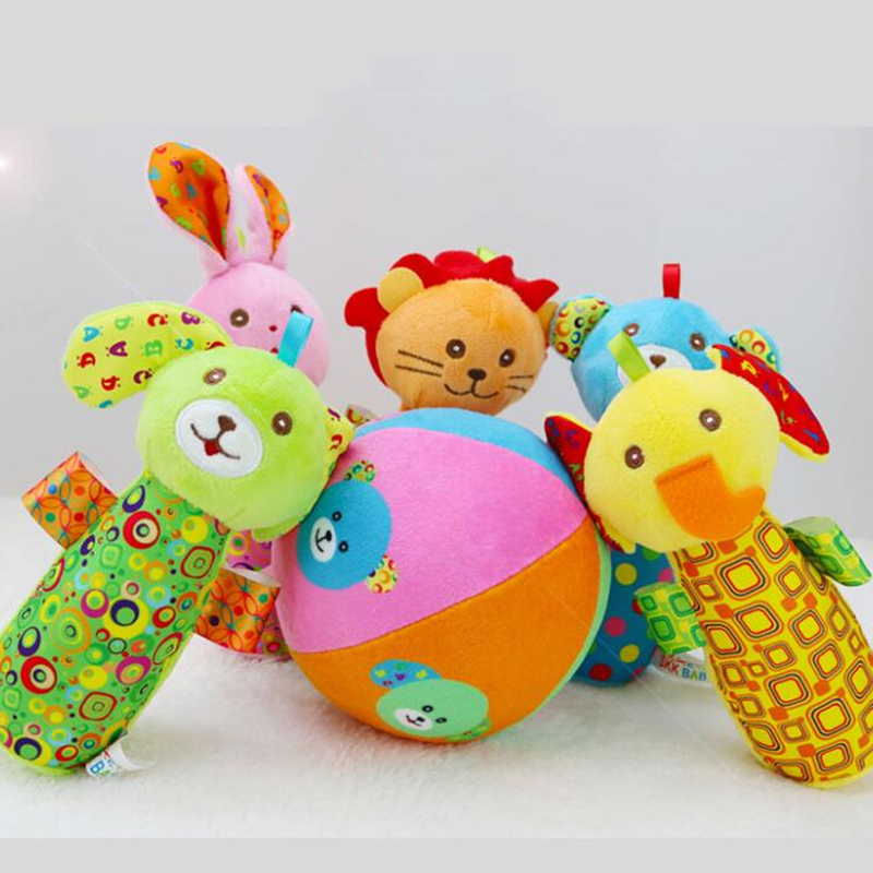 Plush Baby Strollers Hangable Dolls Bowling Animal Rattles Game Toys For Baby Cartoon Animal BB Stick Toy Soft Rattles