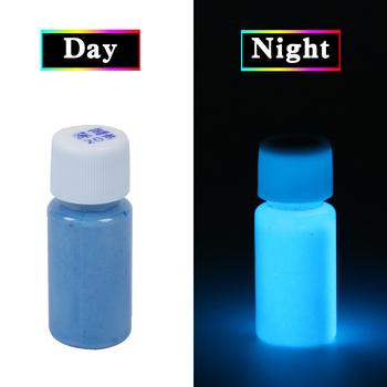 Niebieskie świecące w ciemności Luminous Sand akrylowe farby fluorescencyjne Party jasne farby gwiazda ozdoba do paznokci farby Halloween 20g tanie i dobre opinie -YGQ- Luźne Farby akrylowe luminous paint Acrylic Paint 20g per bottle Blue green phosphor paint DIY Party Nail Art Supplies