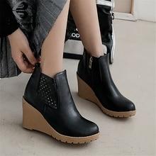 BONJOMARISA New Big Size 33-43 Elegant Wedges Booties Ladies Black Ol Ankle Boots Women 2019 Comfort High Heels Shoes Woman