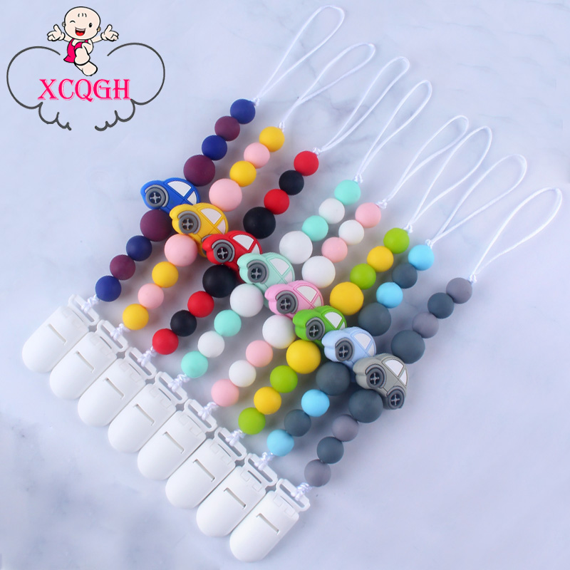 XCQGH Hot Creative Baby Molars Silicone Beads Pacifier Clip Chain Silicone Car Teether Anti-lost Chain