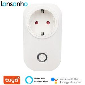 Умная вилка Lonsonho Tuya, умная розетка с Wi-Fi, 16 А, 3520 Вт, энергосбережение, ЕС, Австралия, Великобритания, Бразилия, Израиль, Чили, совместимый с Alexa, Google Home
