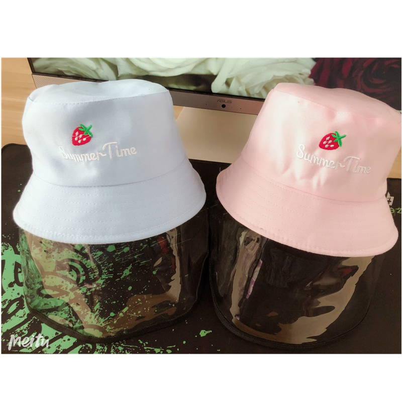 2020 Fashion Trend Cotton Bucket Hat Breathable Sun Protection Caps with Clear Face Shield for Toddler Kids Boys Girls