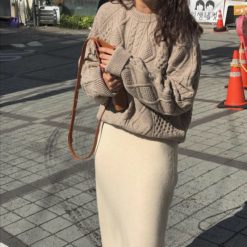 Alien Kitty Elegant Sweet Knitted Stylish 2019 Loose Twisted Pullovers Students Vintage Women Tops All-Match Solid Soft Sweaters