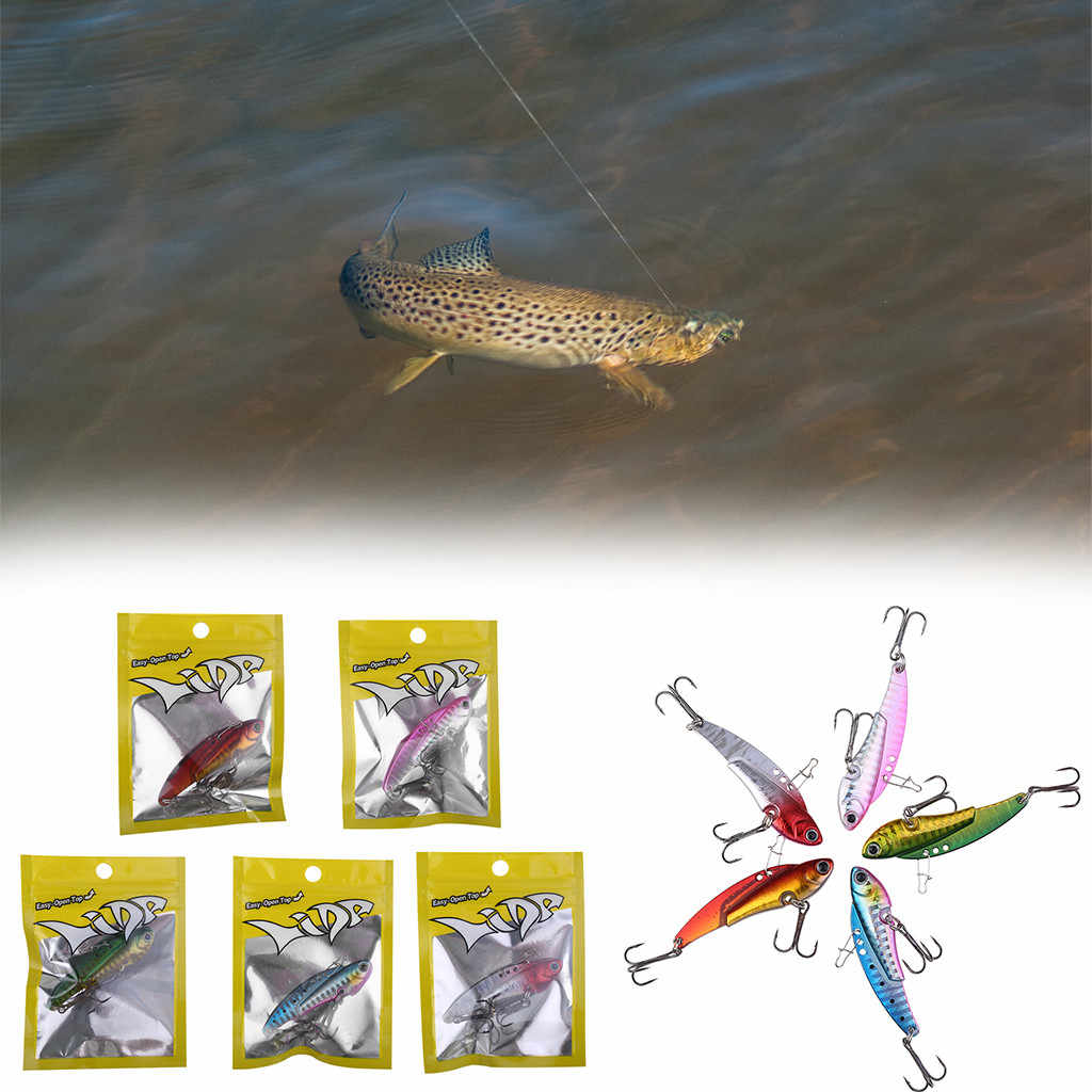 1pcs Lead Head Lure Sinking Metal VIB Lure Hard Bait 2 Treble Hook 6cm 20g