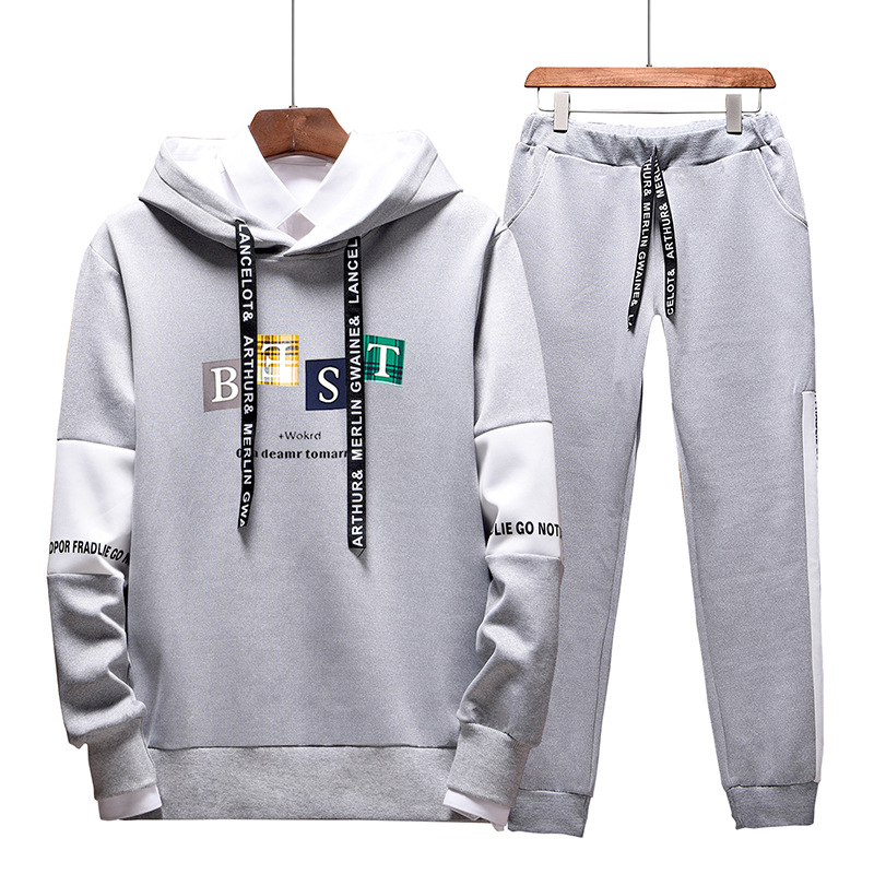 Hoodie Men's Sports Leisure Suit Men's Autumn And Winter 2019 New Style Korean-style Trend A Set Of Hooded Clothes MEN'S Coat