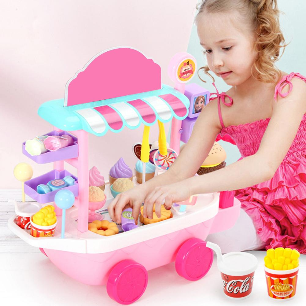 36pcs/set Mini Ice Cream Candy Trolley House Play Educational Toy Super Funny Mini Ice Cream Car Toys Kitchen Toys For Children