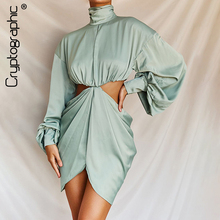 Cryptographic Solid Button Turtleneck Puff Sleeve Fashion Dress Hollow Out Sexy Backless Zipper Mini Dress Slit Women's Dress