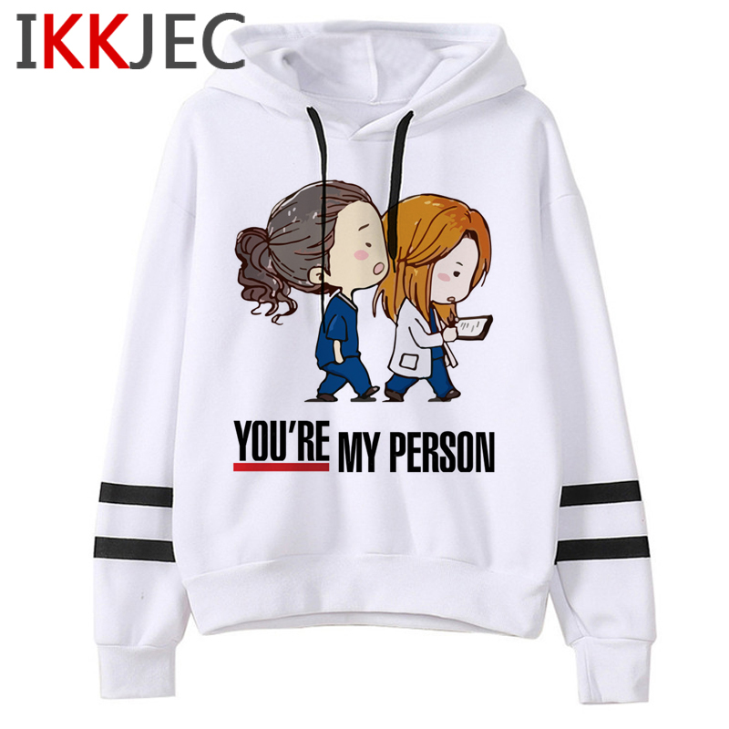 New Greys Anatomy Harajuku Funny Cartoon Hoodies Women You're My Person 90s Graphic Cute Sweatshirts Fashion Casual Hoody Female