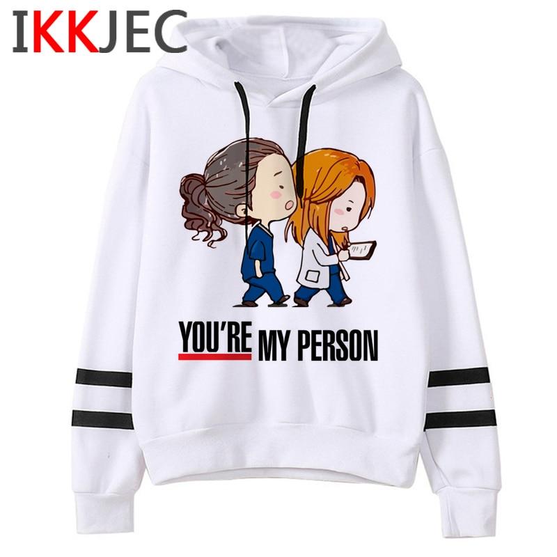 New Greys Anatomy Harajuku Funny Cartoon Hoodies Women You're My Person 90s Graphic Cute Sweatshirts Fashion Casual Hoody Female