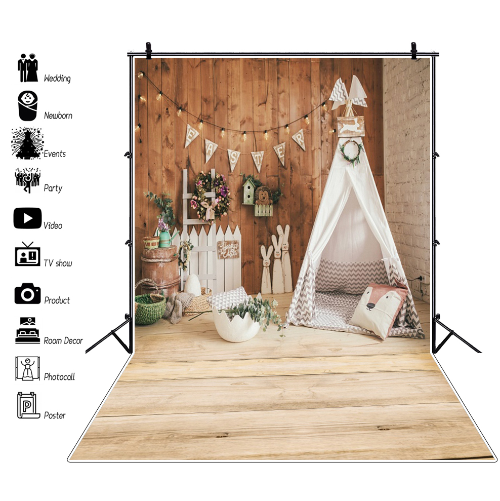 Laeacco Easter Backdrops For Photography Tent Wigwam Chick Eggs Bulb Baby Toys Wooden Floor Portrait Photo Backdrop Photo Studio