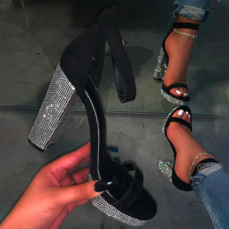 Women Fashion Thick High Heels Sandals Bling Rhinestone Shoes Woman Summer Ladies Buckle Slingbacks Sandals Female Shoes 2020