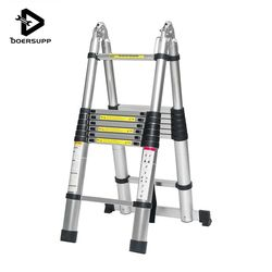 Dual-Use 5m 16.5Ft Ladder Telescopic Herringbone Ladder Alloy Aluminium Multifunctional Single Extension Ladder Tools Home