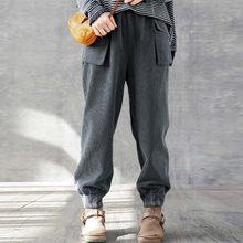 Casual Solido Lungo Harem Pantaloni Zanzea Autunno Inverno Tasche Etero Pantaloni Donna Vintage a Vita Alta Pantaloni di Velluto a Coste Femminile
