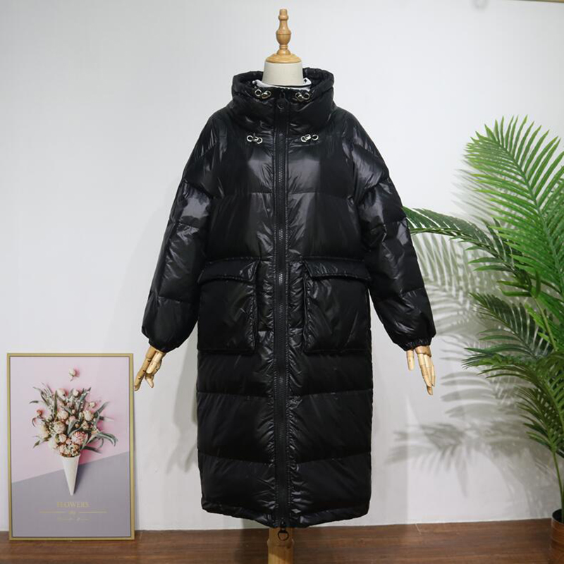 90% White Duck   Down   Jacket Women Thick Long Winter   Down     Coat   2019 Korean Women Stand collar Loose pocket Warm Parka Snow Outwear