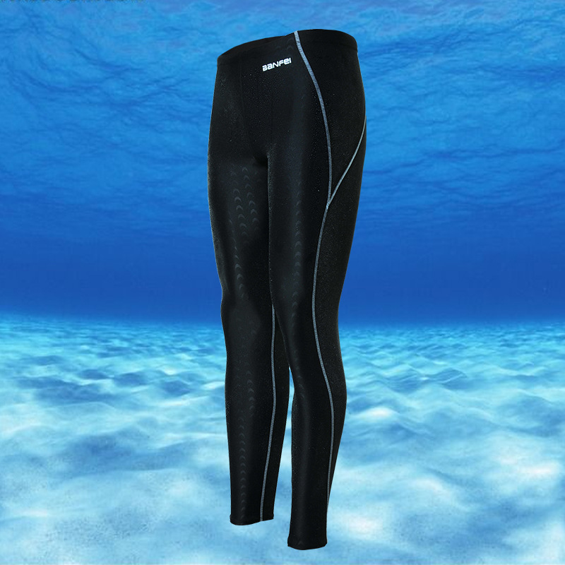 2018 New Style Capri Waterproof Quick-Drying Sun-resistant Faux Sharkskin Long Legs Competition MEN'S Swimming Trunks Diving Wet