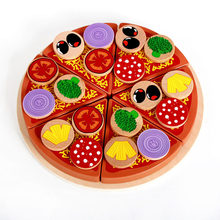 Funny Pizza Wooden Toys Kids Food Cooking Simulation Tableware Children Kitchen Pretend Play Gifts Creativity Decoration jouet