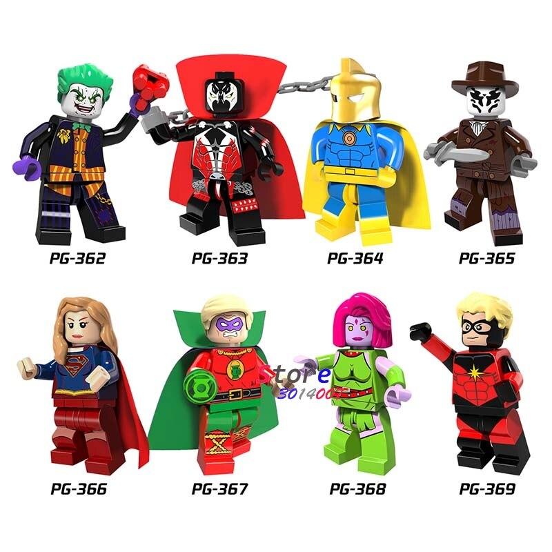 Single Super Hero Doctor Fate Green Lantern Blink Mar-Vell Supergirl Joker Building Blocks Models Bricks Toys For Children Kits