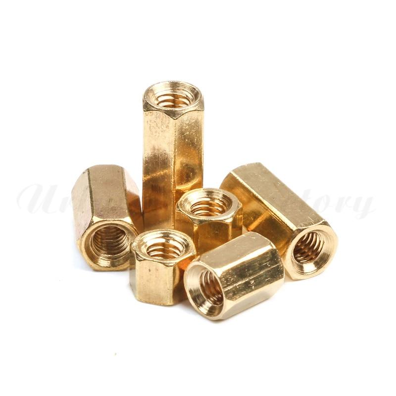 uxcell100 Pcs Hex Hexagon Female Nut Brass Standoff Spacer M3x12 M3 12mm