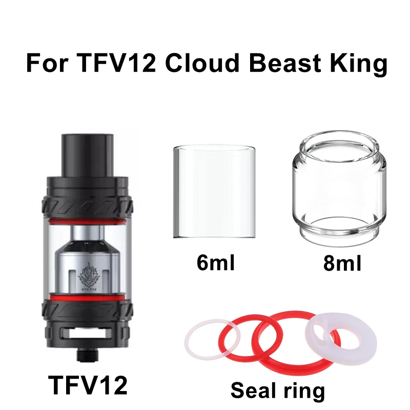 Replacement Pyrex Glass For TFV12 Cloud Beast King Tank Glass Tube Seal Gasket O Ring Vape RBA Electronic Cigarette Accessories