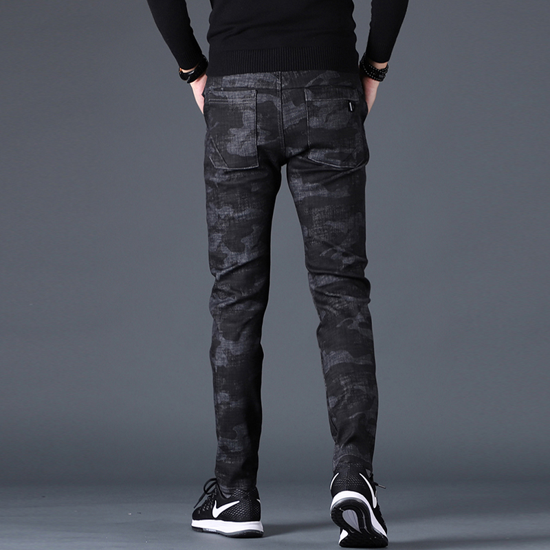 Free shipping new fashion men's male casual Original camouflage jeans men plus velvet autumn stitching pants Slim Korean C3129 74