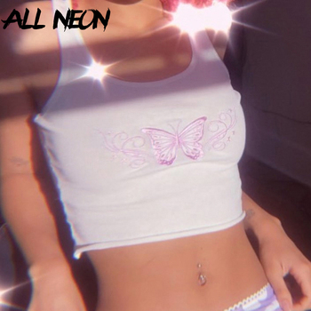 ALLNeon Punk Style Butterfly Embroidery Front White Tanks Tops Y2K Fashion Ribbed Backless Straped Cropped Tops E-girl Summer