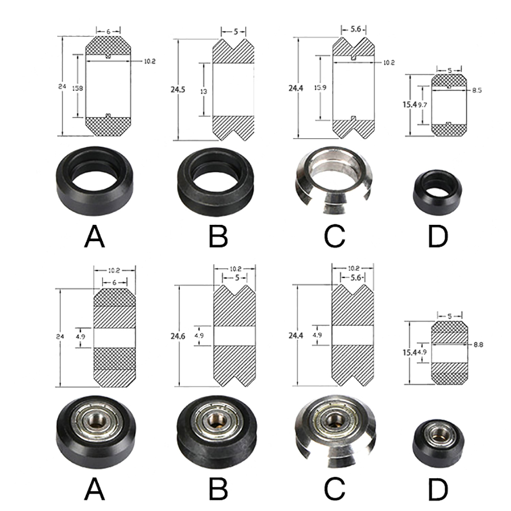 CNC POM Openbuilds Plastic wheel with <font><b>625zz</b></font> MR105zz Idler Pulley Gear Passive Round Wheel Perlin Wheel V type for V-Slot image