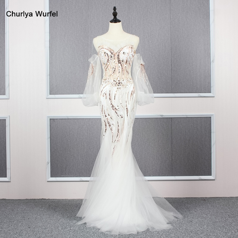 YY132 Churlya Wurfel Long Prom Dresses Mermaid Detachable Sleeves Illusion Sexy Luxury Evening Dress Long платья на выпускной