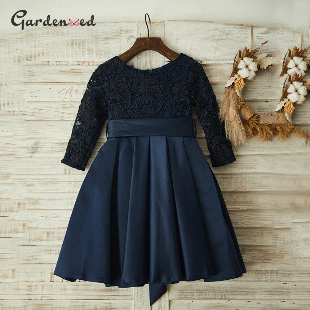 Vintage Tulle Lace First Communion Dress Tulle Skirt Flower Girl Dresses Satin Bow Sashes Kids Prom Dresses Girls Ball Gown