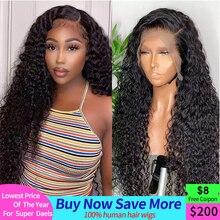 Perruque Lace Front wig brésilienne naturelle ondulée, cheveux bouclés, 13x4, naissance des cheveux naturelle, pre-plucked, 180% de densité, pour femmes africaines