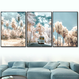 Sky Cloud Cherry blossoms Tree Car Bird Wall Art Canvas Painting Nordic Posters And Prints Wall Pictures For Living Room Decor